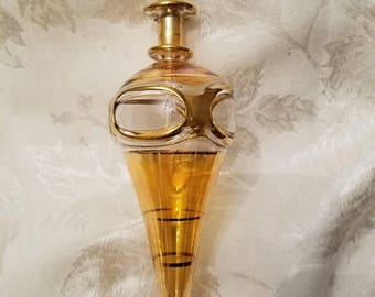Lovely Vintage Apricot Colored Blown Glass Perfume Bottle