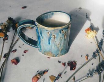Slab-built Wildflower Blue Ceramic Botanical Mug