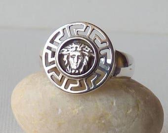 Sterling Silver Greek Mythology Ring Signet Ring Size 8 1/4 Greek Key Meander Meandros Medusa Sterling Silver 925 Ring,Unisex Medusa Jewelry