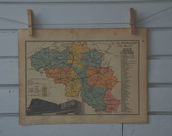1941 Vintage Belgium Map