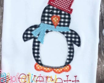 Winter Penguin Boy Applique Design- ZigZag