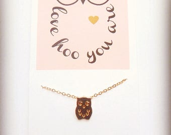 Gold Owl Necklace Dainty Owl Necklace