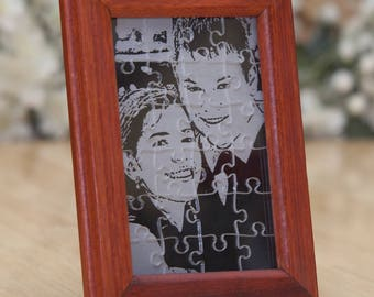 Personalized Acrylic Puzzle on Hand-Made Bloodwood Picture Frame ~ Valentine's, Father's, Mother's, Day, Dad, Mom, Family, Him, Her, Gift