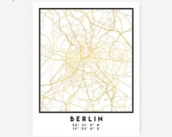 Berlin Map Coordinates Print - Germany City Street Map Art Poster, Gold Berlin Map Print, Berlin Germany Coordinates German Poster Map Art