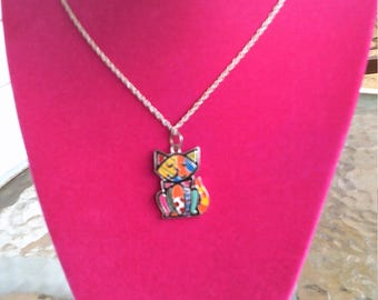Rainbow Cat Necklace with Silver Chain