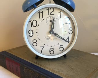 Ingraham Double Bell Blue & White Wind Up Alarm Clock Vintage 1960's Fully Functional Mechanical Alarm Clock, Off The Grid Alarm Clock