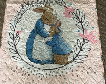 Beatrix Potter baby quilt in pink!