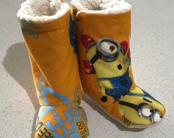 Minion baby winter booties zip up nonslip boots slippers