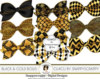 Bow Clipart, Digital Scrapbooking, Gold and Black  Bow Scrap Kit Collection,  CU4CU