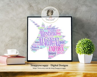 Unicorn Typography,  Unicorn Word Art.   Print Your Own,  Instant Download