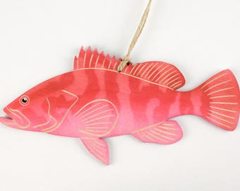 Red Grouper Fish Christmas Ornament