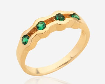 Emerald stacking ring Solid 14k Gold ring for women simple delicate gemstone ring multistone jewelry may birthstone stackable rings