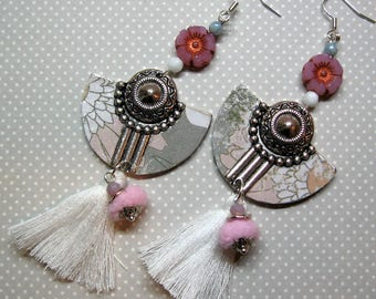 earrings, silver, pink, white, romantic range