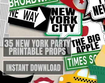 35 New York photo props, new york Party Photo Booth Props, I love ny party props, instant download, new york party props, selfie props ny