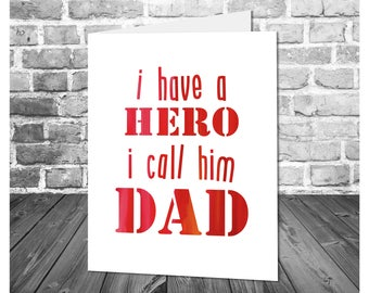 Father's Day Card / My Dad is My Hero / Superhero Dad / Card for Dad / Printable Greeting Card