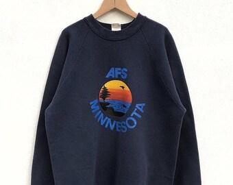 20% OFF Vintage 80s Minnesota Sweatshirt / Minnesota Crewneck / Minnesota jumper / Hawaiian