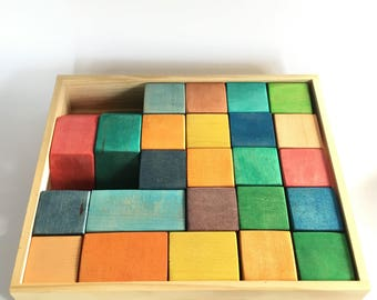 24 Colored Maple Block Set, Wood Blocks, Rainbow Blocks, Maple Blocks