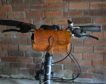 Leather Handlebar Bicycle Bag Hand Made Hande Tooled