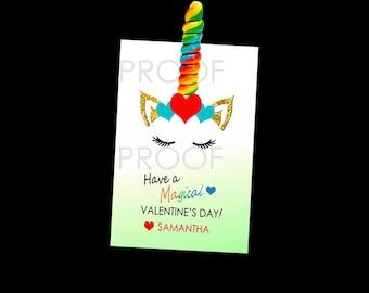 Unicorn Valentine Cards, Magical Valentine, School Valentine Cards, Girl Valentine, Use with or without a LOLLIPOP, Unicorn Horn Lollipop