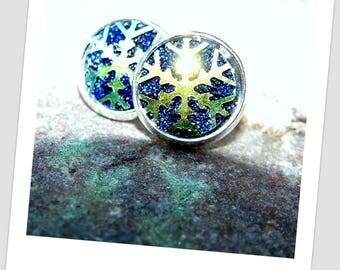 Druzy earrings snowflake