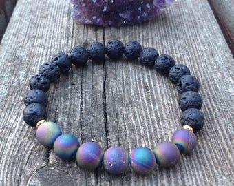Matte Druzy Agate and Black Lava Stone Yoga Mala. Prosperity bracelet.
