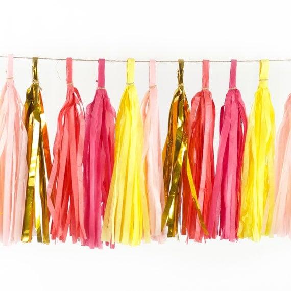 Mai Tai Tassels, Tissue Tassels, Tassel Banner, Birthday Party Decor, DIY Tassels, Girl Birthday, Wedding, Baby Shower Bachelorette