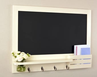 Large cream chalkboard organiser with mason jar and mail holder