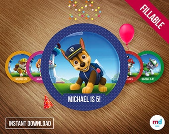 """Paw Patrol Stickers, 2"""" Paw Patrol Tags Labels Birthday Party Theme Printables, Circles, Candy Bar, Center Piece, Favors, INSTANT DOWNLOAD"""