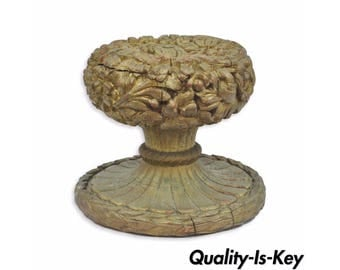 Vintage 16x18 Carved Wood Floral Gold Coffee Table Base Spain Hollywood Regency