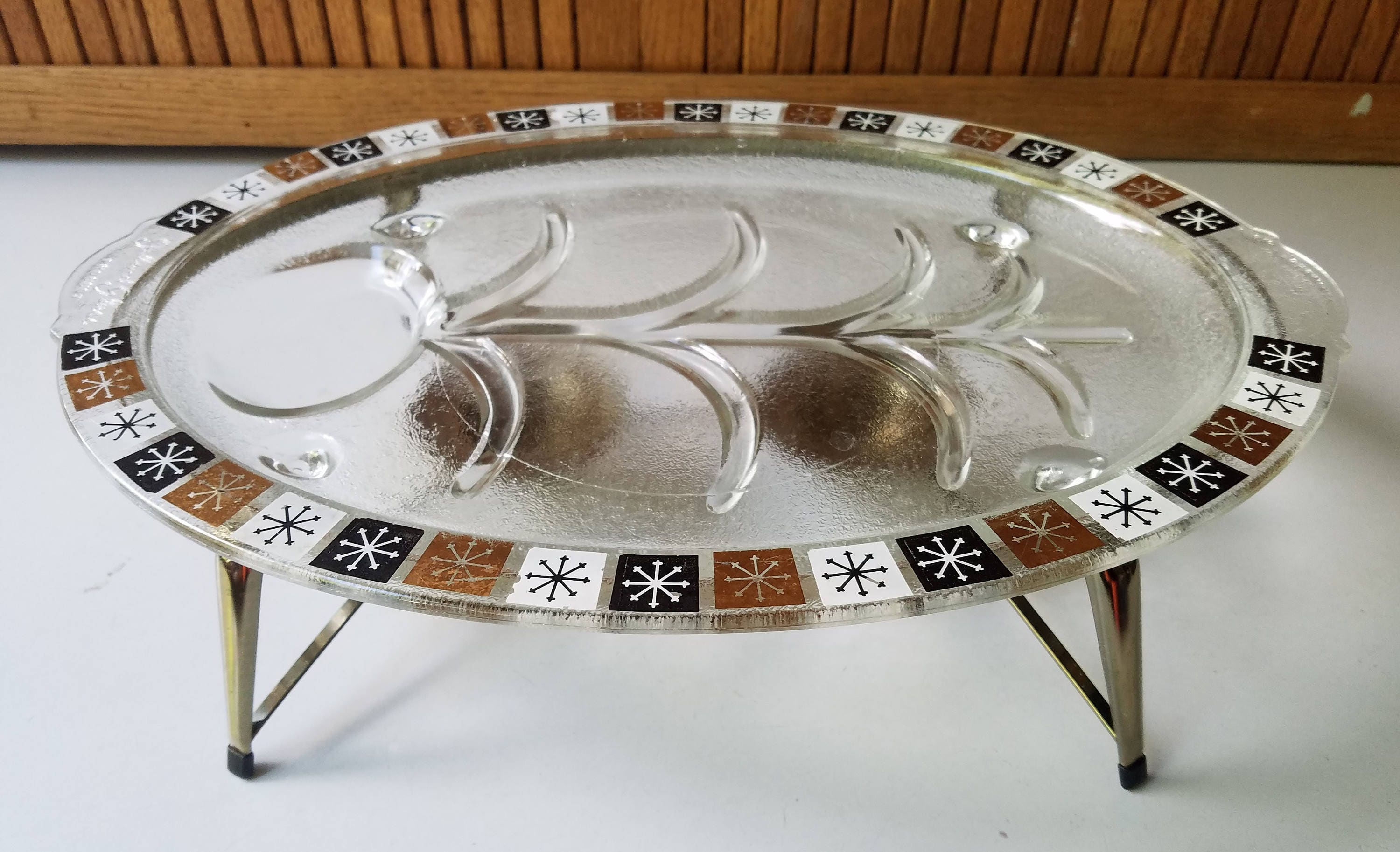 Vintage Inland Glass Atomic Snowflake Serving Platter with Warming
