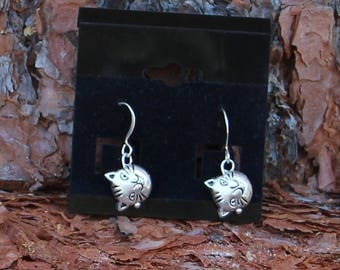 Cat Head Earrings, Cats, Kitty Cats, Pet, Pet Lover, Animal Lover, Animals, Charms, Puffy Cat, Whimsical,  Feline lover, Silver-tone, Meow