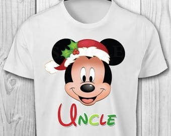Christmas Mickey with Santa Hat Iron On Transfer - Mickey Mouse Christmas Iron On Transfer - Mickey Christmas Uncle