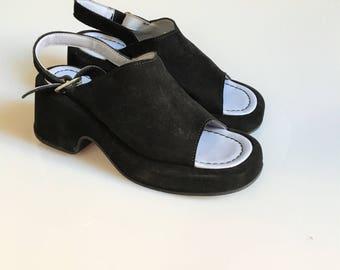 Black chunky mules, chunky black mules,  famolare suede, dark black chunky mules, grunge shoes, suede chunky mules size US 5, UK 3, EU 36
