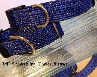 Blue Rhinestone Bling Puppy Dog Collar Nylon Fancy Small Medium Elegant Glam Adjustable Black