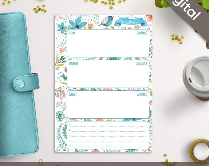 A5 2018 Weekly Planner Printable, Wo2P Printable Refills, Filofax A5 Inserts, Dated planner, Arinne Blue Bird, PDF Instant Download