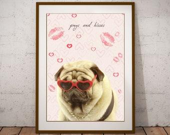 Valentines day gift,room decor print,cute pug print,fashion dog print,girly decor,pug digital print,pug art print,pug gift,pug wall art