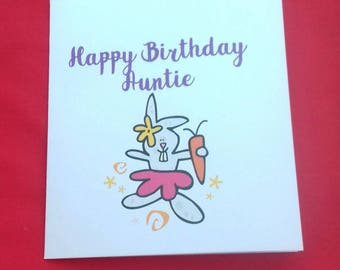 Happy Birthday Auntie Card, Rabbit Card, Card From Nephew, Card From the Kids, Card From Niece, Cute Bunny Cards, Female Relative Card,