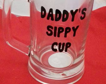 Daddys Sippy Cup, Dads Pint Glass, Fun Father Gift, Alcohol Gifts For Dad, Christmas Tankard Gift, Keppsake Barware For Him, Dads Glass
