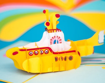 The Beatles Yellow Submarine Card, The Beatles Pop Up Card, Beatles Pop Up Card, Beatles Yellow Submarine Pop Up Card, Groovy Submarine
