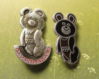 Soviet Pins, Olympic Games 80, Moscow Games Symbol, Russian Bear Symbol, Olympic Games Pin, Vintage Metal Pin, USSR Olympic Games