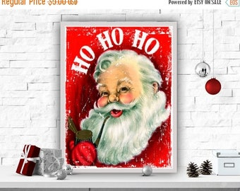 "SALE Instant Download Printable Art Christmas Art Print Santa Poster Wall Decor Christmas Art Poster Home Decor Santa Print ""Ho Ho Ho"""