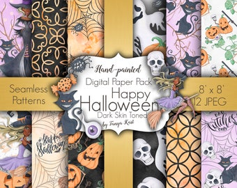 Halloween Digital Paper, Autumn Digital Paper, Watercolor Paper Pack, Dark skin Toned, Halloween patterns, Halloween paper, Witch patterns