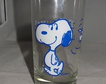 1965 Vintage Peanuts Snoopy Woodstock Too Much Root Beer Glass