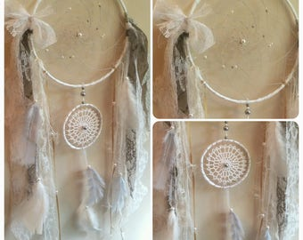 Double dream catcher gray and white
