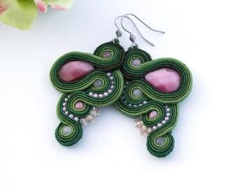 Green pink soutache earrings for women, statement pink stone earrings, casual stitched earrings, spring drop earrings, inspirational jewelry