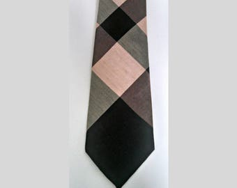 Vintage Skinny Tie, Mauve and Black Plaid Necktie by Americana, Hand Made, Mid Century Narrow Tie, Circa 1950s