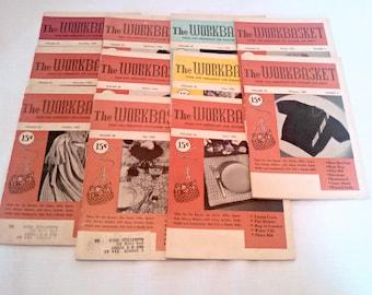 Vintage Craft Magazines, 1955 Workbasket Magazine Lot, 11 Issues, Mid Century Needlework Patterns