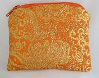 Small Orange and Gold Brocade and Satin Coinpurse Coin Purse Pendulum Crystals Zipper Bag Pouch Fancy