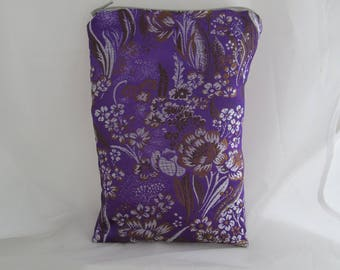 Brocade Tarot Card Bag Purple, Brown and White Floral with Silver Satin Lining and Zipper Dice Makeup Pouch Fancy