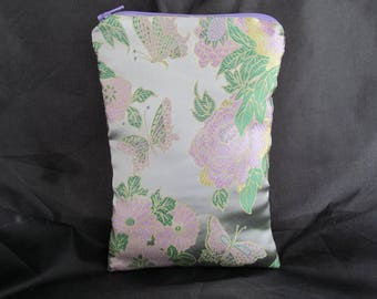 Brocade Tarot Card Bag Silver, Green and Lavender Floral with Butterflies and Green Satin Lining and Zipper Dice Makeup Pouch Fancy